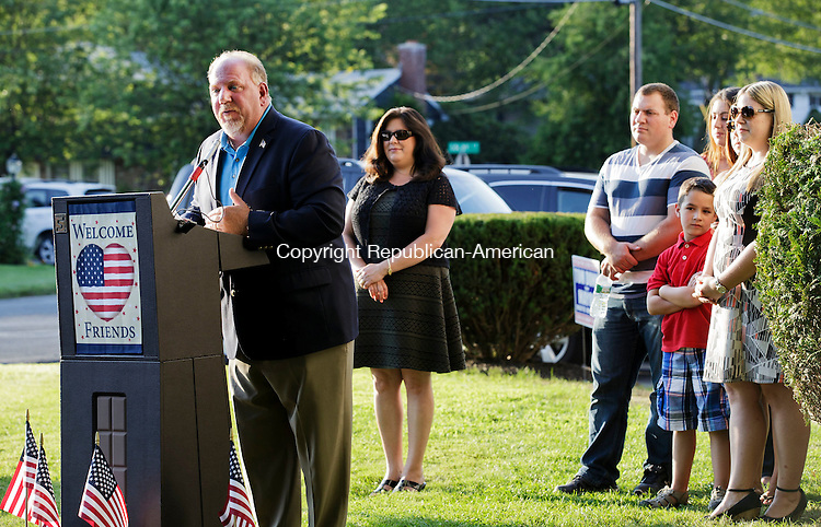 Wolcott, CT- 16 July 2015-071615CM09- Wolcott Mayor  Thomas G. Dunn addresses supporters in Wolcott on Thursday. Dunn, surrounded by family, announced plans to run for a seventh term.  Christopher Massa Republican-American