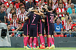 FC Barcelona's players celebrate goal during La Liga match. August 28,2016. (ALTERPHOTOS/Acero)