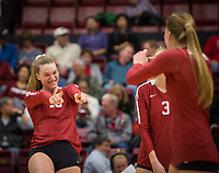 Stanford, CA - October 18, 2019: Kendall Kipp, Jenna Gray at Maples Pavilion. The No. 2 Stanford Cardinal swept the Colorado Buffaloes 3-0.