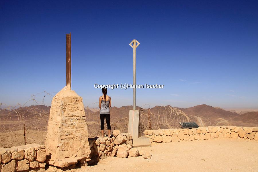 Israel, Negev, boundary stones on the Egyptian-Israeli border