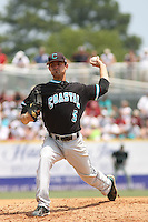 The Coastal Carolina University Chanticleers starting pitcher Cody Wheeler #5 on the mound during the 2nd and deciding game of the NCAA Super Regional vs. the University of South Carolina Gamecocks on June 13, 2010 at BB&T Coastal Field in Myrtle Beach, SC.  The Gamecocks defeated Coastal Carolina 10-9 to advance to the 2010 NCAA College World Series in Omaha, Nebraska. Photo By Robert Gurganus/Four Seam Images