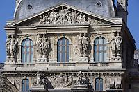 Caryatids & pediment, Pavillon Richelieu and Colbert, 1857, Louvre Museum, Paris, France Picture by Manuel Cohen
