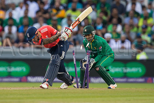 07.09.2016. Old Trafford, Manchester, England. Natwest International T20 Cricket. England Versus Pakistan. England top order batsman Alex Hales is bowled out by Wasim Wasim for 37 as his bails go flying