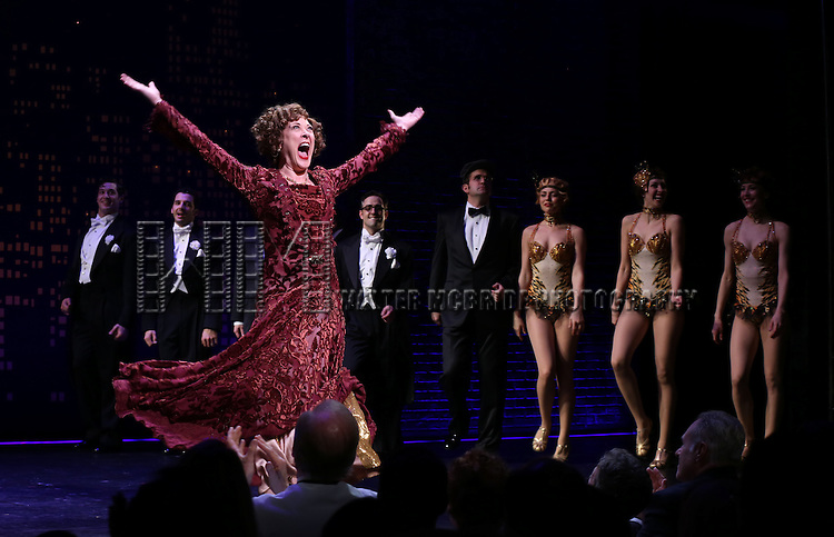 "Karen Ziemba during the Broadway Opening Night Performance Curtain Call for ''Bullets Over Broadway'""at the St. James Theatre on April 10, 2014 in New York City."