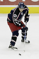 11 January 2006: Columbus Blue Jackets' Steven Goertzen plays against the Pittsburgh Penguins at Nationwide Arena in Columbus, Ohio.<br />