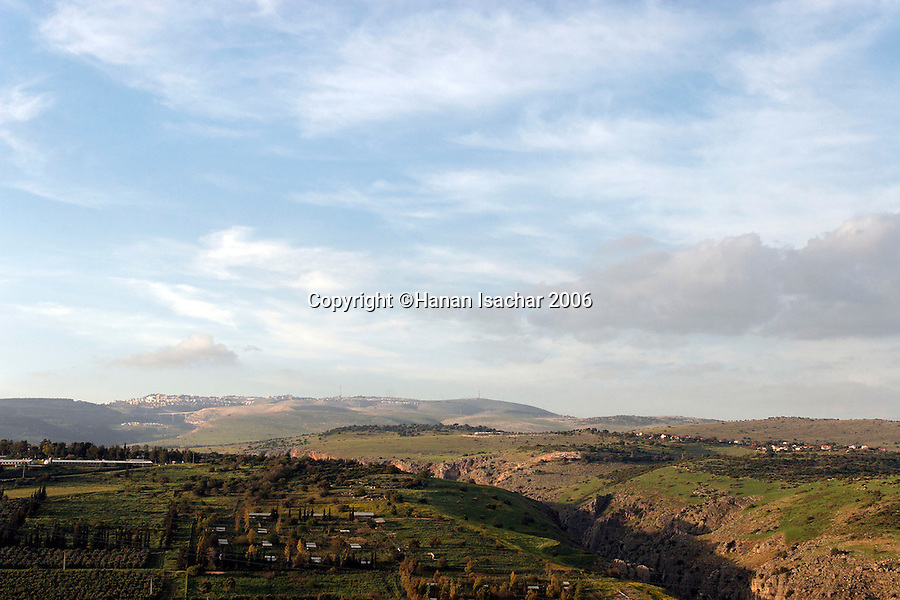 Israel, the Lower Galilee. A view north from Livnim towards kibbutz Hokuk and Wadi Amud