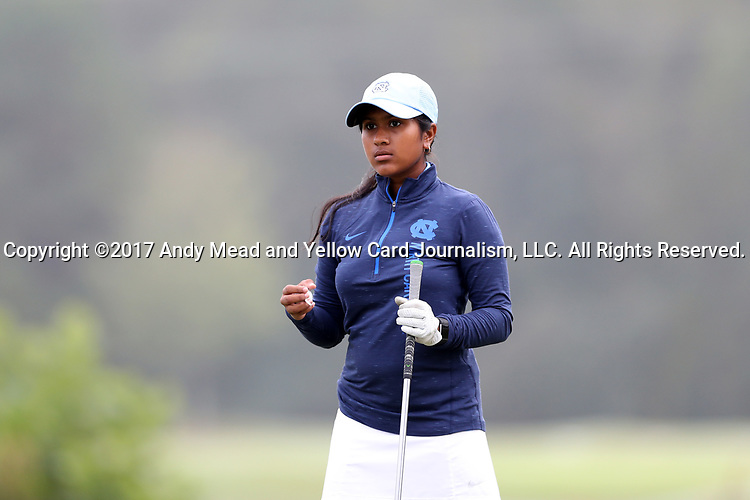 CHAPEL HILL, NC - OCTOBER 15: North Carolina's Roshnee Sharma on the 1st tee. The third and final round of the Ruth's Chris Tar Heel Invitational Women's Golf Tournament was held on October 15, 2017, at the UNC Finley Golf Course in Chapel Hill, NC.