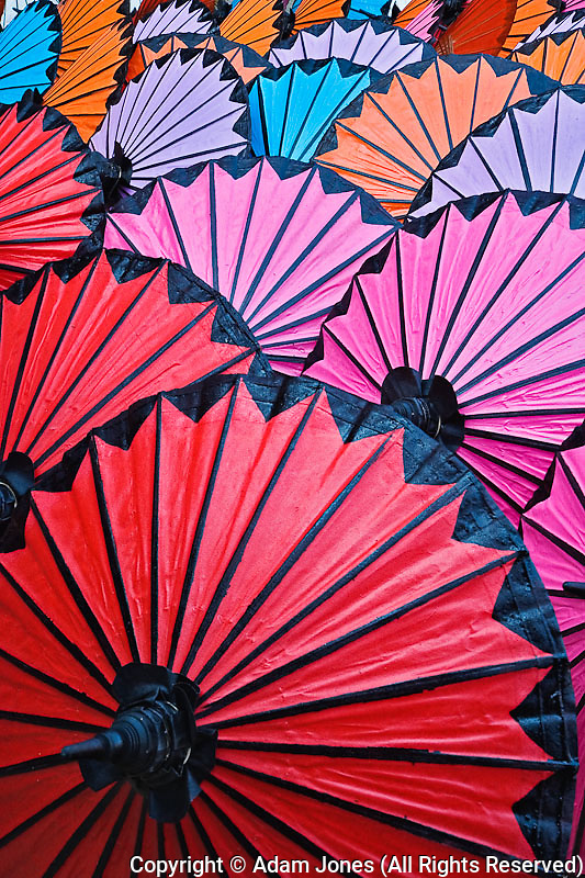 Pattern of newly assembled decorative umbrellas drying in sun, Umbrella Making Center, Bo Sang, near Chiang Mai, Thailand.