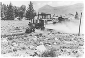 Enginee 268 pulling gondolas.  Steel bridge at Altmont.<br /> D&amp;RGW  Almont, CO  post 1949