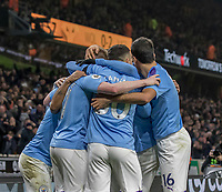 27th December 2019; Molineux Stadium, Wolverhampton, West Midlands, England; English Premier League, Wolverhampton Wanderers versus Manchester City; Raheem Sterling of Manchester City celebrates with his team after scoring in the 50th minute 0-2