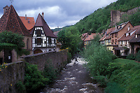AJ1653, Alsace, France, Kaysersberg, Europe, A river runs through the picturesque village of Kaysersberg with its half-timbered houses, a wine growing village of Alsace, France.