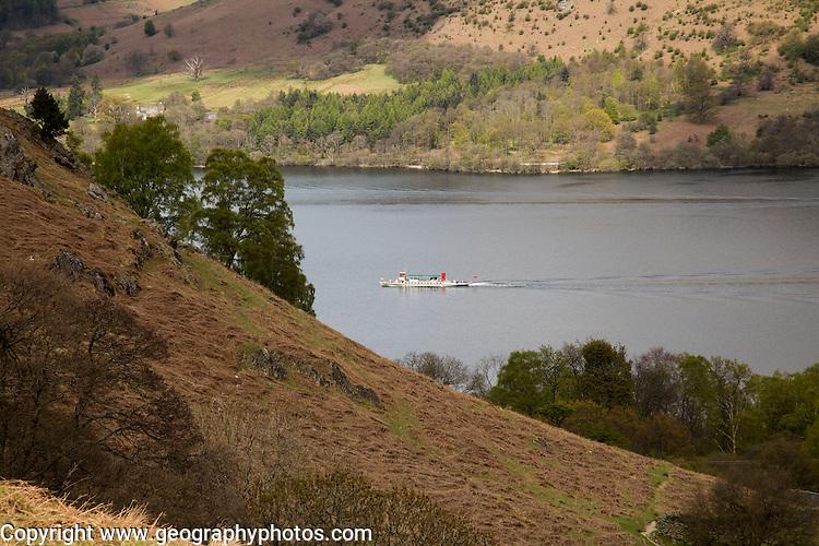 Steamer passenger ferry boat in Ullswater lake, Lake District national park, England, UK