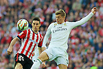 Football match during La Liga between the teams Athletic Club &. Real Madrid in San Mames Berria Stadium in Bilbao.<br /> Bilbao, 7/03/2015<br /> aduriz in action with kroos<br /> PHOTOCALL3000 / DyD