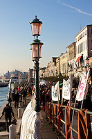 About 200 citizens and others gathered on the Zattere to Protest the size, number, and poor management of cruise ships in and out of the Venice lagoon.
