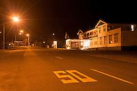 Night streets of Fox Glacier township, Westland National Park, West Coast, New Zealand