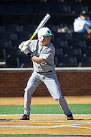 Matt Reed (22) of the Marshall Thundering Herd at bat against the Georgetown Hoyas at Wake Forest Baseball Park on February 15, 2014 in Winston-Salem, North Carolina.  The Thundering Herd defeated the Hoyas 5-1.  (Brian Westerholt/Four Seam Images)