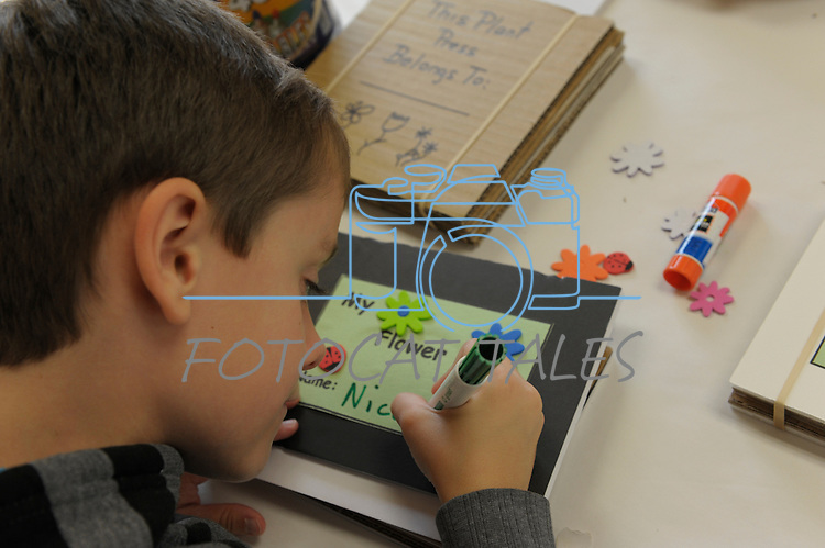 Nicolau Philibert, 7, makes a flower press during Nevada Wildflower Family Fun Day at the Nevada State Museum in Carson City Saturday April 11, 2015. Visitors to the museum were treated to loads of information, hands-on experiences and crafts.<br /> Photo by Lisa J. Tolda