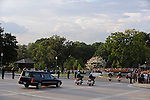 """The hearse carries the body of former U.S. Senator Edward """"Teddy"""" Kennedy preceded by a motorcade with members of the Kennedy family as it departs from the U.S. Senate in Washington, D.C. on August 29, 2009. The hearse paused for prayer and remembrance en route to Arlington National Cemetery in Arlington, Virgiia."""