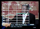 "Washington, D.C. - June 28, 2007 -- Electronic scoring of a response of Governor Bill Richardson (Democrat of New Mexico) during the ""All-American Presidential Forums on PBS"" at Howard University in Washington, D.C. on Thursday, June 29, 2007.  The ""Instant Response"" electronic scoring is a technique developed by Dr. Frank Luntz (not pictured) that he uses to obtain on-the-spot feedback from a group of everyday citizens.  A score of 50 is the mean, the higher the number above 50, the more positive is the focus group's response to a candidate's answer, the numbers below 50 measure negative response to the answers..Credit: Ron Sachs / CNP..(RESTRICTION: No New York or New Jersey newspapers or newspapers within a 75 mile radius of New York City)"