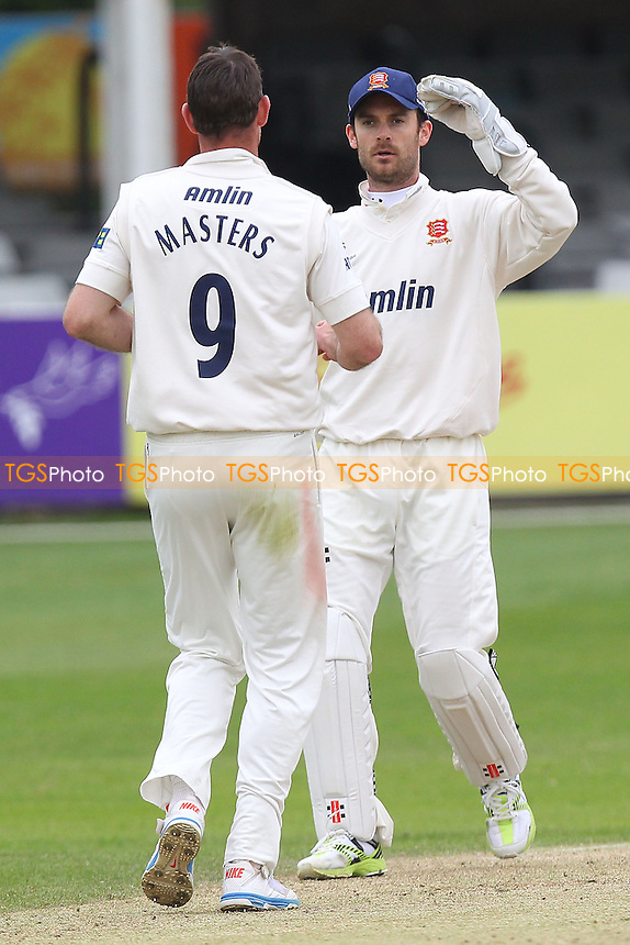 David Masters of Essex celebrates the wicket of Sam Billings with James Foster - Essex CCC vs Kent CCC - Pre-Season Friendly Cricket Match at the Essex County Ground, Chelmsford - 04/04/14 - MANDATORY CREDIT: Gavin Ellis/TGSPHOTO - Self billing applies where appropriate - 0845 094 6026 - contact@tgsphoto.co.uk - NO UNPAID USE