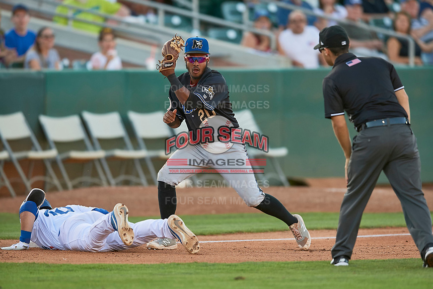 Jose Reyes (20) of the Missoula Osprey makes the tag during the game against the Ogden Raptors at Lindquist Field on August 12, 2019 in Ogden, Utah. The Raptors defeated the Osprey 4-3. (Stephen Smith/Four Seam Images)