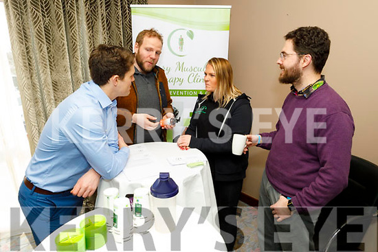 Conor Kerley, Daniel Davis Luke, Emily Carey and Eoin Brofey attending the Multiple Sclerosis Wellness Event in the Rose Hotel on Saturday.