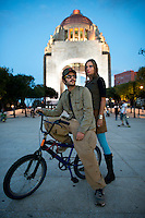 Afrodita at the Monumento a la Revolución. Karin and Ima from Afrodita bicycling through Mexico City's, Sant Maria la ribera and San Rafael neighborhoods for a couple of drinks and tacos at the Polar,  Mexico City
