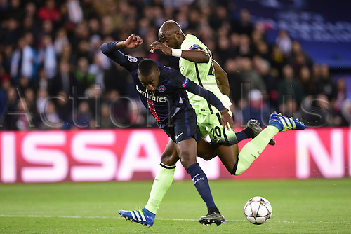 06.04.2016. Paris, France. UEFA CHampions League, quarter-final. Paris St Germain versus Manchester City.  Blaise Matuidi (PSG) and Eliaquim Mangala (Manchester City)