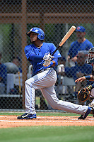 GCL Blue Jays shortstop Edwin Fuentes (16) at bat during a game against the GCL Tigers on June 30, 2014 at Tigertown in Lakeland, Florida.  GCL Blue Jays defeated the GCL Tigers 3-1.  (Mike Janes/Four Seam Images)