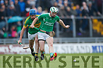 Padraig Boyle Ballyduff in action against Pat Corridan Lixnaw in the Senior County Hurling Final in Austin Stack Park on Sunday