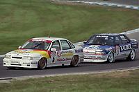 Round 10 of the 1991 British Touring Car Championship. #5 John Cleland (GBR). Vauxhall Sport. Vauxhall Cavalier. #3 Andy Rouse (GBR). Kaliber ICS Team Toyota. Toyota Carina.