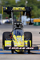 Sep 28, 2013; Madison, IL, USA; NHRA top fuel dragster driver Morgan Lucas during qualifying for the Midwest Nationals at Gateway Motorsports Park. Mandatory Credit: Mark J. Rebilas-