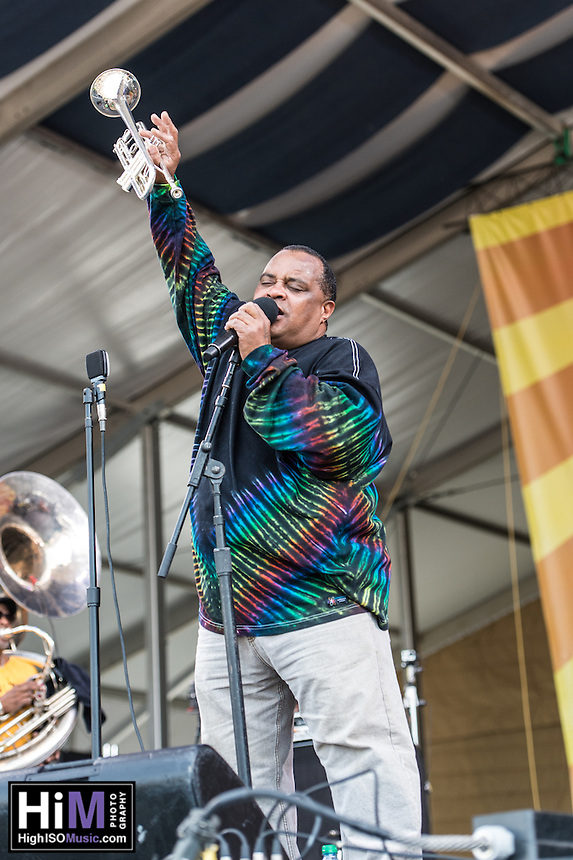 The Dirty Dozen Brass Band performs at the 2014 Jazz and Heritage Festival in New Orleans, LA.