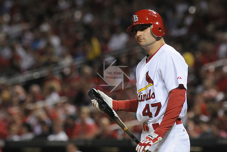 18 May 2011                          Cardinals second baseman Pete Kozma (47) made his Major League Baseball debut against the Astros, hitting for outfielder Lance Berkman in the bottom of the fifth.  He doubled to left field, scoring St. Louis Cardinals shortstop Tyler Greene (27).  The St. Louis Cardinals defeated the Houston Astros 5-1 on Wednesday May 18, 2011 in the first game of a two-game series at Busch Stadium in downtown St. Louis.