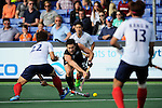 The Hague, Netherlands, June 01: Kane Russell #21 of New Zealand passes the ball during the field hockey group match (Men - Group B) between the Black Sticks of New Zealand and Korea on June 1, 2014 during the World Cup 2014 at GreenFields Stadium in The Hague, Netherlands. Final score 2:1 (1:0) (Photo by Dirk Markgraf / www.265-images.com) *** Local caption ***