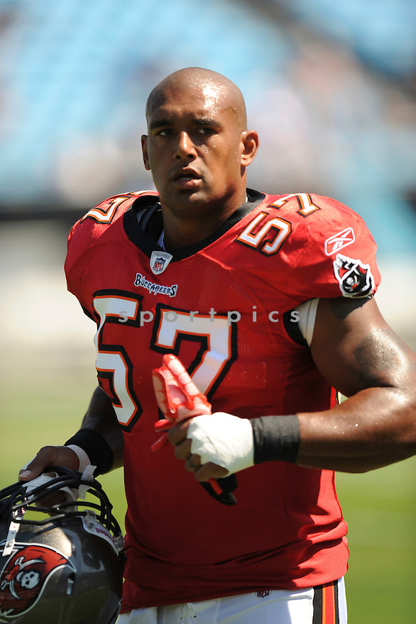 ADAM HAYWARD, of the Tampa Bay Buccaneers, in action during the Buccaneerss  game against the Carolina Panthers at Bank of America Stadium on September 18, 2010 in Bank of America Stadium in Charlotte, NC...Tampa Bay beat Carolina 20-7