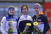 SPEED SKATING: INZELL: 06-12-2015, Max Aicher Arena, ISU World Cup, Podium 500m Ladies, B-division, Yvonne Daldossi (ITA), Hyun-Yung Kim (KOR), Letitia de Jong (NED), ©foto Martin de Jong