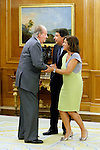 King Juan Carlos of Spain and Prince Felipe of Spain recive in audience to COI representation for candidature of Madrid 2020 Olympic Games in a Zarzuela Place in Madrid. In the pic: King Juan Carlos of Spain, Ignacio Gonzalez and Ana Botella. September 10, 2013. (ALTERPHOTOS/Caro Marin)