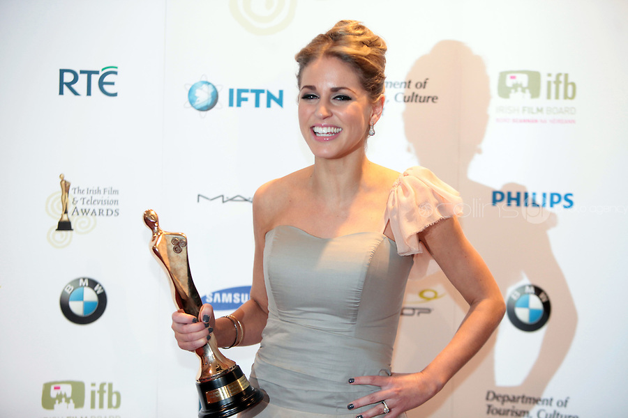 12/2/11 Amy Huberman winner of Actress in a Lead Role for Rewind at the 8th Irish Film and Television Awards at the Convention centre in Dublin. Picture:Arthur Carron/Collins