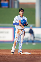 St. Lucie Mets shortstop Andres Gimenez (12) on second base during the first game of a doubleheader against the Charlotte Stone Crabs on April 24, 2018 at First Data Field in Port St. Lucie, Florida.  St. Lucie defeated Charlotte 5-3.  (Mike Janes/Four Seam Images)