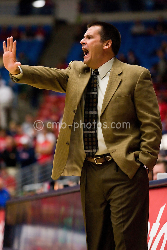 Nov 6, 2008; Tucson, AZ, USA; Arizona Wildcats head coach Russ Pennell gestures to his team in the first half of a game against the Incarnate Word Cardinals at the McKale Center.  The Wildcats beat the Cardinals 97-83.