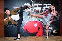 """Launch of the MMA movie """"Fist of Youth"""" in Hong Kong. Stars of the movie.L to R MMA actor Jason Li Zongyan with co-star Heidi. Hong Kong on August 26, 2016"""