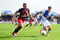 Blackburn Rovers' Elliott Bennett battles with Bristol Rovers' Tom Broadbent<br /> <br /> Photographer Ashley Crowden/CameraSport<br /> <br /> The EFL Sky Bet League One - Bristol Rovers v Blackburn Rovers - Saturday 14th April 2018 - Memorial Stadium - Bristol<br /> <br /> World Copyright &copy; 2018 CameraSport. All rights reserved. 43 Linden Ave. Countesthorpe. Leicester. England. LE8 5PG - Tel: +44 (0) 116 277 4147 - admin@camerasport.com - www.camerasport.com