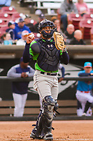 Lake County Captains catcher Bo Naylor (24) warms up between innings during a Midwest League game against the Wisconsin Timber Rattlers on May 10, 2019 at Fox Cities Stadium in Appleton, Wisconsin. Wisconsin defeated Lake County 5-4. (Brad Krause/Four Seam Images)