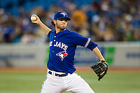 Toronto Blue Jays starting pitcher Drew Hutchison #36 delivers a pitch during an American League game against the Boston Red Sox at Rogers Centre on June 3, 2012 in Toronto, Ontario.  (Mike Janes/Four Seam Images)