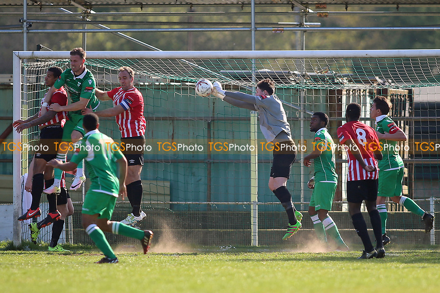 Sam Mott of Hornchurch punches clear during Waltham Abbey vs AFC Hornchurch, Ryman League Division 1 North Football at Capershotts on 8th April 2017