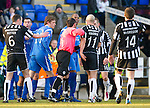 St Johnstone v St Mirren....22.01.11  .Michael Duberry and Jim Goodwin square up after a foul on Steven Anderson.Picture by Graeme Hart..Copyright Perthshire Picture Agency.Tel: 01738 623350  Mobile: 07990 594431