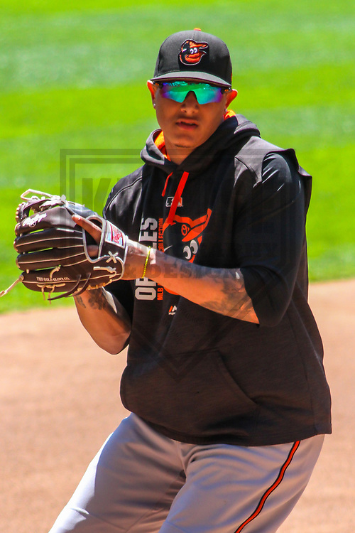 Baltimore Orioles third baseman Manny Machado (13) during a Major League Baseball game against the Milwaukee Brewers on July 3, 2017 at Miller Park in Milwaukee, Wisconsin.  Milwaukee defeated Baltimore 8-1. (Brad Krause/Krause Sports Photography)