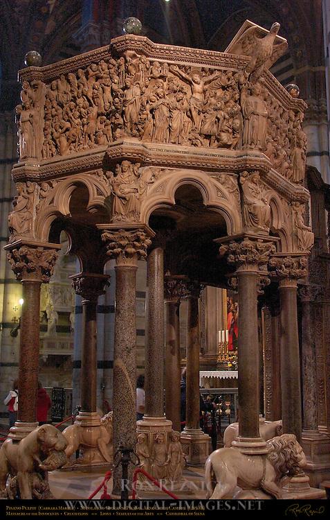 Pisano Pulpit, Carrara Marble 1285-88, Nicola and Giovanni Pisano, Arnolfo di Cambio, Cathedral of Siena, Santa Maria Assunta, Siena, Italy