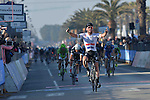 Mark Cavendish (GBR) Omega Pharma-Quick Step crosses the finish line to win at the end of Stage 6 of the 2014 Tirreno-Adriatico, running from Bucchianico to Porto Sant Elpidio (189 km). 17th March 2014.      <br /> Photo: Gian Mattia D'Alberto/LaPresse/www.newsfile.ie